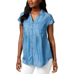 Style & Co L Sun Wash Blue Two Pocket Top NWT CP89